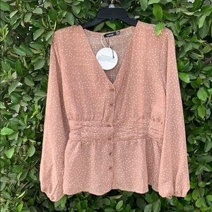 Delicate polka dot blouse. Perfect for fall.